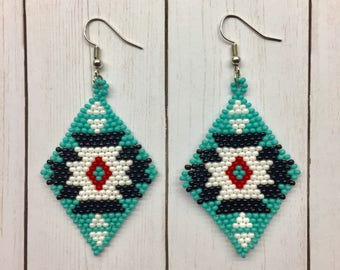 Beads earrings, BOHO earrings, Turquoise, Dangle earrings, Native American, Jewelry, Beaded, Brick stitch, Diamond shaped, Handmade, Gift