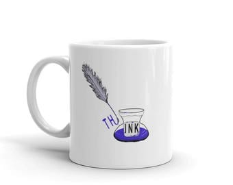 Mug for Writers, Think Coffee Cup, Quill Illustration, Gift for Writers