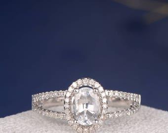 White Sapphire Engagement Ring Oval Cut White Gold Wedding Ring Halo Diamond Eternity Bridal Split Shank Anniversary Promise Minimalist Ring