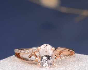 Morganite Engagement Ring Rose Gold Wedding Oval Cut Women Jewelry Antique Bridal Set Unique Pink Butterfly Anniversary Gift For Her Vine