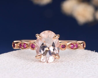 Oval Cut Morganite Engagement Ring Rose Gold Art Deco Antique Multistone Ruby Women Anniversary Promise July Birthstone Half Eternity Ring