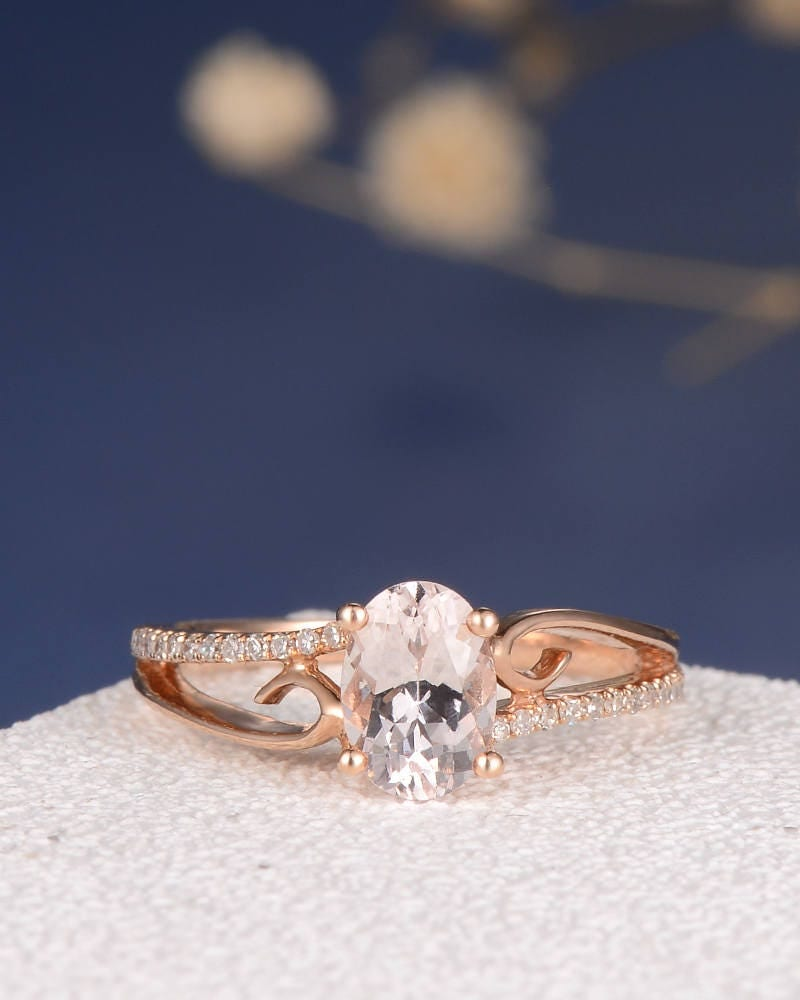 butterfly ring butterfly wedding rings Morganite Engagement Ring Rose Gold Wedding Oval Cut Women Jewelry Antique Bridal Set Unique Pink Butterfly Anniversary Gift For Her Vine