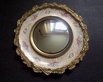 Antique Edwardian Burleigh Ware Convex  Mirror 1900's