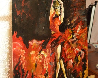 Dancer painting Dance painting Gift for dancer lover Spain painting Flamenco dancer art Spanish wall decor Spanish dancer Scenic home decor