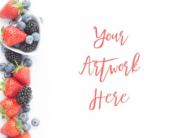 Summer Berries Flatlay for you to put your message on