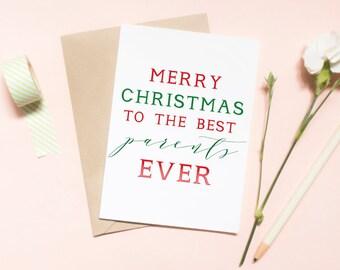 Merry christmas to the best parents ever card, happy holidays card, customized card, holidays, christmas card, family / SKU: LNHO01