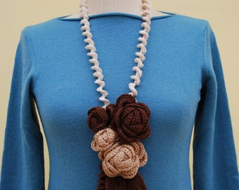 Crochet Necklace/Woolen crochet necklace/crocher flower necklace/Brown flower necklace