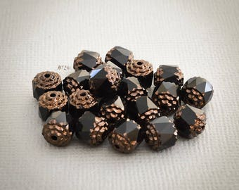 Pearl cathedrals, black, opaque, Czech glass, black and bronze baroque style, faceted beads, glass beads, 8 mm, 10 pcs.