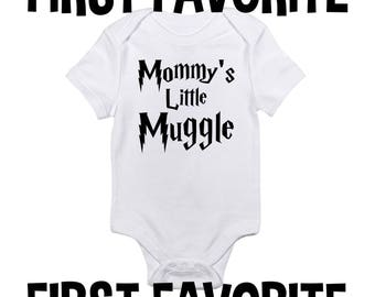 Mommy's Little Muggle Baby Onesie Bodysuit Shirt Shower Gift Infant Mom Mother Funny Cute Unique Nerdy Geeky Newborn - 24M Pregnant Reveal