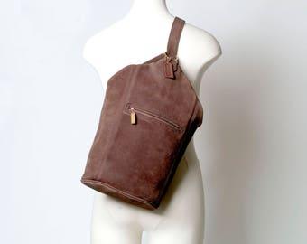 Coach Vintage Sonoma Backpack Sling Flatpack Brown Nubuc Leather Bag