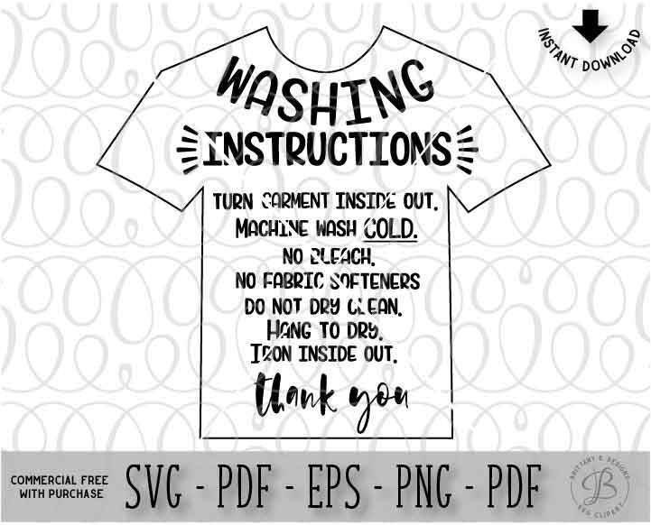 Garment Care Card SVG HTV Wash Instructions Clothing Care - Custom vinyl decal application instructionscare card printable care card instructions printable care