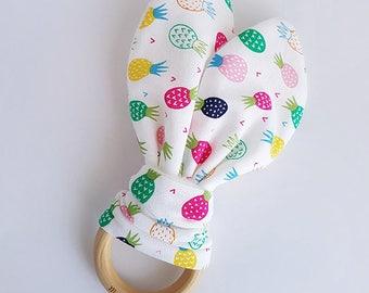 Pineapple Bunny Ear Teether, Pineapple Teether, Teething Ring, Wooden Teething Ring, Teething