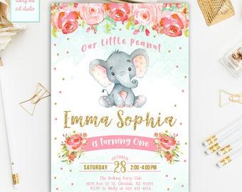 Elephant Birthday Invitation, Girl Birthday Invitation, Safari Birthday Invitation, Elephant Birthday Invite, Printable Invitation
