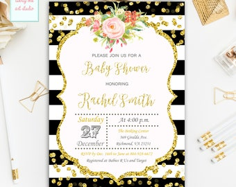 Floral Baby Shower Invitation, Gold Glitter Baby Shower Invitations, Flower Invites, Gender Neutral, Digital File Printable Invitation