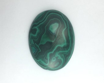 Malachite Green Banded Plume Malachite Semi-precious Gemstone Cabochon, Natural African Gem Stone, DIY Craft Jewel of Zaire