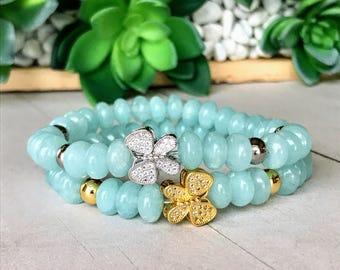 Aquamarine Butterfly Charm Bracelets, Silver or Gold Butterfly, Stretch Bead Bracelet, Stacking Yoga Jewelry, Healing Bracelets, Boho Luxe
