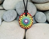 Chakra Painted Necklace - Rainbow Mandala Stone - Paint Rock - Mandala Meditation Rock - Rock Art - Dot Art - Hand-Painted Necklace