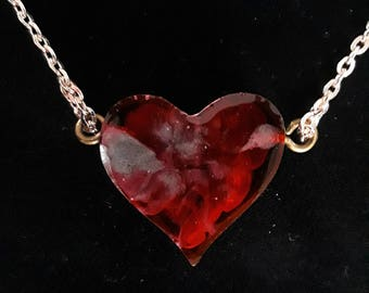 "SweetHeart Necklace- Deep Red and Silver Resin Necklace on a Gold 18"" Chain for love, friendship, or family- this is a sweet gift"