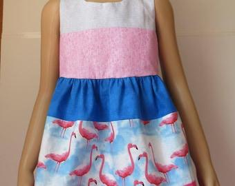 Crane dress Size 3, Blue Dress, Dressy Dress, Pink Dress, Dress with Birds, Dress with Animals