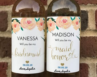 Will You Be My Bridesmaid Wine Label - Custom Bridesmaid Gift - Wine Sticker – Bridesmaid Proposal Wine Label - Maid of Honor Wine Label