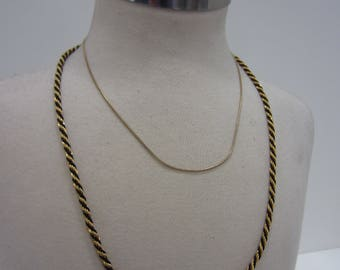 Two Vintage Crown Trifari Necklaces - Thin Snake Chain with Rhinestone Crown Tag & Twisted Rope Chain