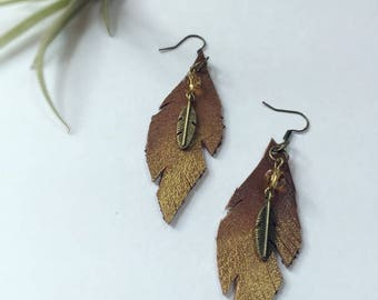 Gold Feather Earrings, Upcycled Leather Earrings, Leather Earrings, Gold Earrings, Feather Earrings, Friend Gift, Girl Gift, Brown Earrings