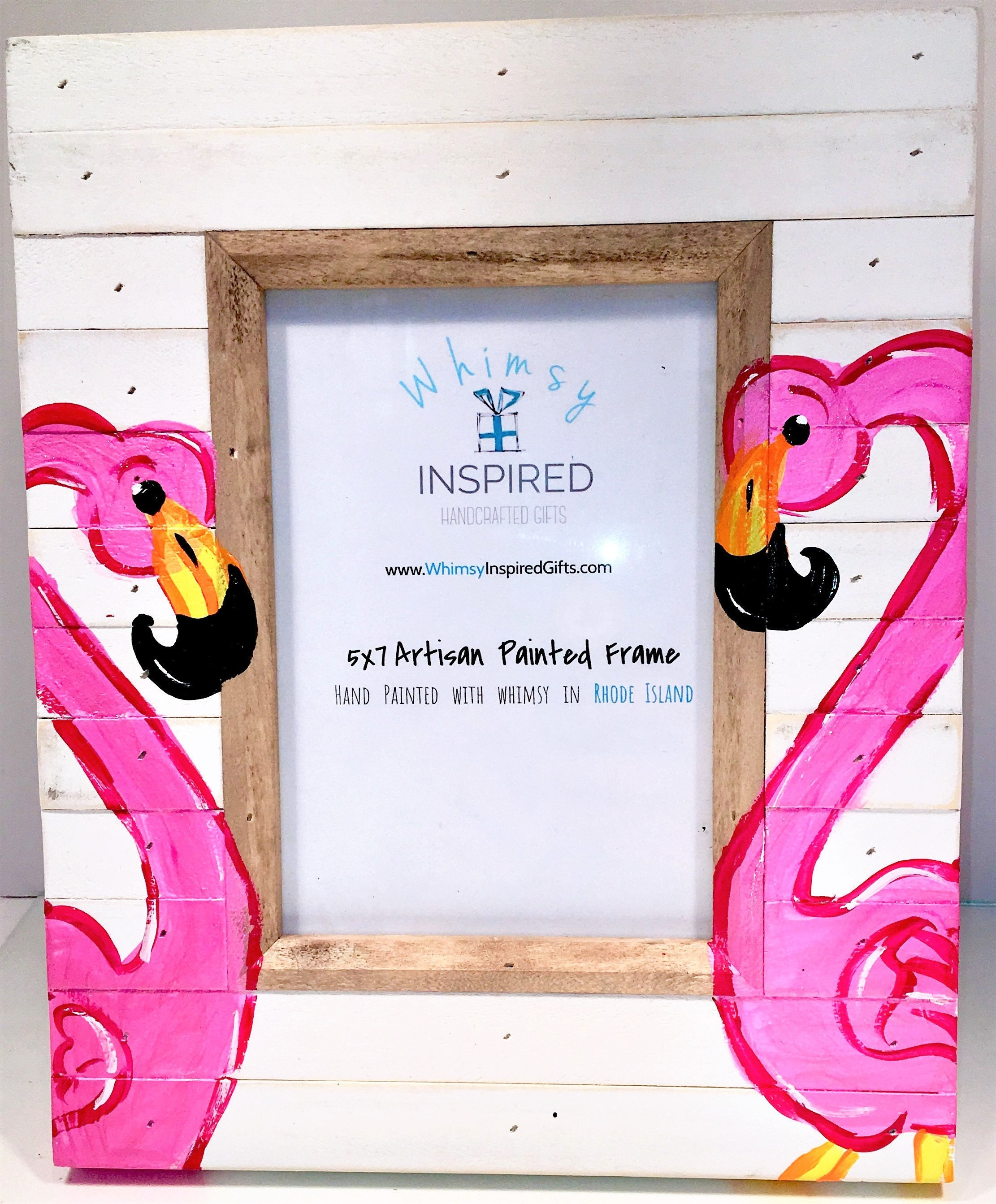 Flamingo painted wood picture frame 4x6 5x7 8x10 pink flamingo sold by whimsyinspiredgifts jeuxipadfo Image collections