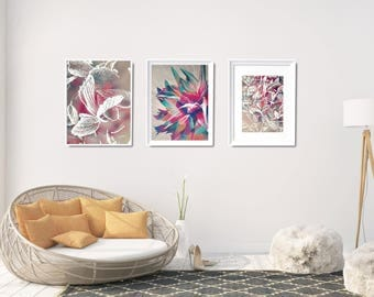 Large Floral Wall Decor, Flower Printable Set, Floral Painting Art Print, Gallery Wall Art Set, Gift For Her Floral Art Print, XL Wall Decor
