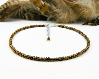 Seed Beaded Choker, Seed Bead Choker, Beaded Choker, Choker Necklace, Seed Bead Necklace, Copper Choker, Boho Choker, Beaded Chokers
