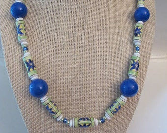 """Vintage Ceramic Flower Tube Beads with Czech Glass and Lucite - 18"""" Necklace"""