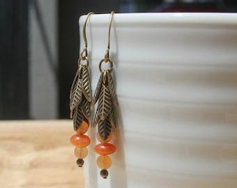 Red Aventurine and Leaf Cluster Drop Earrings - Antique Brass, Gemstone Earrings, Leaf Earrings, Boho Bohemian Earrings, Long Earrings