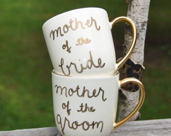 Mother of the groom gift from bride mother of the bride gift wedding gift mother in law gift mother of bride gift 10K gold mug