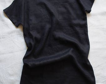 Linen dress in dark blue linen, size S