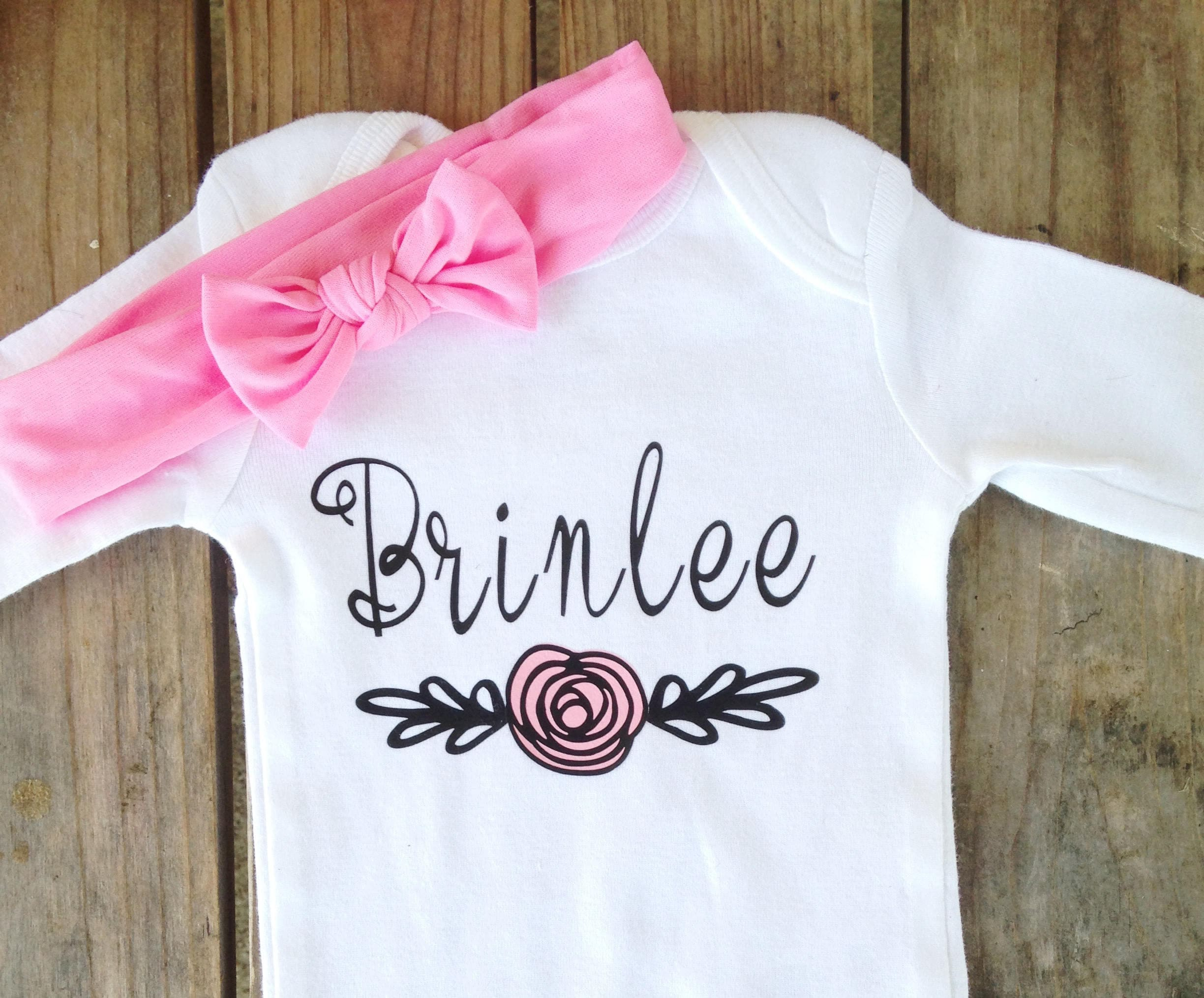 Custom Baby Girl Onesie Name Onesie Personalized Girl Onesie Baby