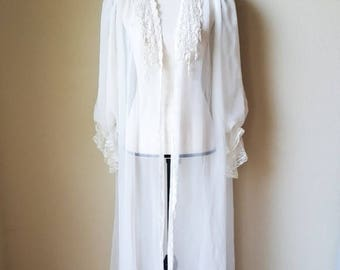 Vintage Cabernet Sheer Lace Nightgown with Robe