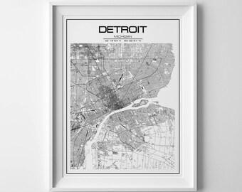 City map, christmas gift, detroit print, detroit map, detroit, detroit michigan, usa map, michigan map, detroit map art, street map,