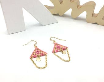 Pink TRIANGLE earrings and gold, hand weaving