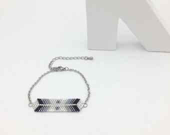 AYASHA bracelet hand woven black grey and silver