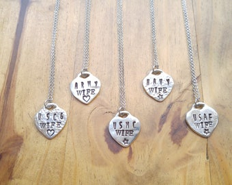 Military Wife Stamped Pewter Heart Necklace, with Stainless Steel Chain, Air Force, Coast Guard, Navy, Marines, Army, Personalized