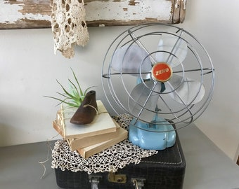 Vintage Zero Oscillating Fan| Model 1265R| Mid-Century Baby Blue Fan| Industrial Decor