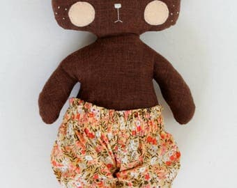 handmade stuffed bear with peach floral bloomers • hand embroidery • dress up doll • heirloom rag doll • woodland plush creature • kid's toy