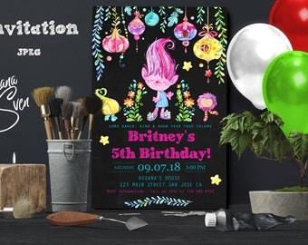 Trolls Birthday Invitation. Trolls Invitations. Trolls Invitation. Trolls Birthday Party. Trolls Party. DIY