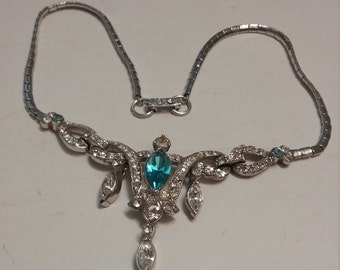 Crystal & Blue Rhinestone Necklace