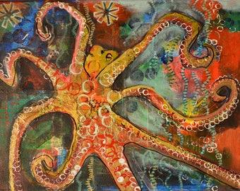 Original Acrylic Painting: Octopus Under the Sea
