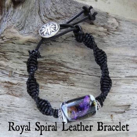 Memorial Blown Glass Braided Leather Bracelet