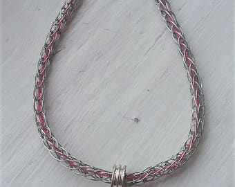 Pink Viking Knit Butterfly Charm Bracelet