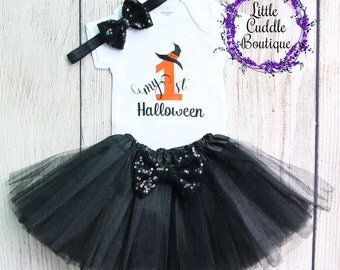First Halloween Baby Girl Outfit, Holiday Baby Outfit, Fall Baby Outfit, First Halloween Shirt, Halloween Outfit, Halloween
