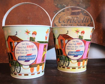 Choice of green or yellow 1970s -80s Advertising Sand Pail bucket with bail -Safeguard  soap premium give away