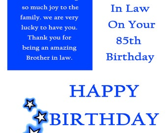 Brother in Law 85 Birthday Card with removable laminate