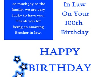Brother in Law 100 Birthday Card with remoavable laminate